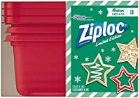 Ziploc Limited Edition Colored Medium Square 5 Cups Disposable Containers (Model: 839822)(40 Fl. Oz. total) (3 Count - Red )