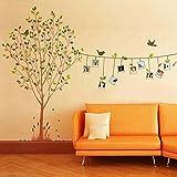 YESURPRISE Vinilo Decorativo Adhesivo Pegatina Pared Para Sala Dormitorio Árbol Pájaro Marcos De Fotos