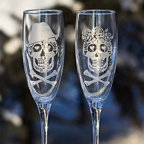 Totenkopf-Flöten, Champagnerflöten, Sugar Skull Brille, Brautgläser, Zuckerschädel, Hochzeitsglas ()