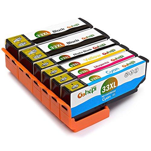 Preisvergleich Produktbild Gohepi 33XL Kompatibel mit Druckerpatronen Epson 33XL 33 für Epson XP-640 XP-530 XP-830 XP-645 XP-540 XP-900 XP-630 XP-635 Patronen - 2 Schwarz/Foto schwarz/Blau/Rot/Gelb 6er-Pack