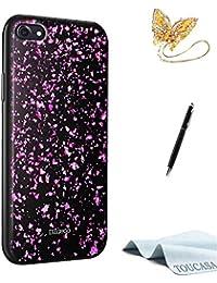 Coque iPhone 8,Housse iPhone 7,TOUCASA Silicone Coque,Premium Hybrid Crystal Clear Flex Clair Gel TPU Brillant Pailletee Silicone Coquille Coque Briller Flocon de neige pour iPhone 8/iPhone 7(Violet)