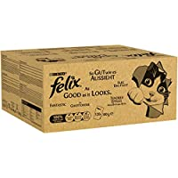 Felix Gut Wie es aussieht in Gelee mit Rind, Huhn, Kabeljau und Thunfisch, Katzenfutter (120 x 100g Beutel)