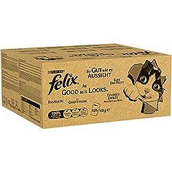 Felix So gut wie es aussieht in Gelee mit Rind, Huhn, Kabeljau und Thunfisch, Katzenfutter (120 x 100g Beutel)