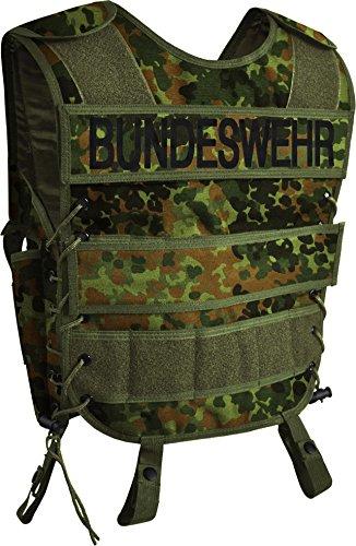 normani Taktische SWAT Weste mit Pistolenholster und abnehmbarem Schriftzug auf dem Rücken Farbe Bundeswehr Größe M/L