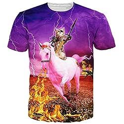 Leapparel Camiseta divertida unisex de la impresión del caballo del unicornio del paseo del gato