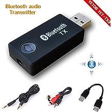 Bluetooth transmisor, yetor 3,5mm estéreo portátil inalámbrico de audio Bluetooth Transmisor para televisor, ipod, mp3/mp4, usb Fuente de alimentación tx9