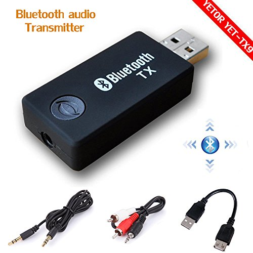 Bluetooth-auto Stereo-cinch (Bluetooth Transmitter, YETOR Stereo Musik Stream Video Portable USB Dongle Audio Adapter Paar mit Empfänger für Auto TV Computer Laptop Home Audio System (TX9))