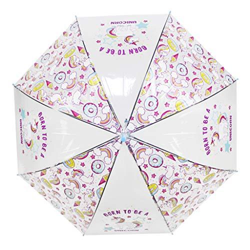 Paraguas Transparentes,Unicornio Claro Paraguas para niños Chicos, Chicas,Paraguas Abierto Auto A Prueba de Viento para Exteriores- Bodas- Regalo de cumpleaños