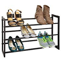 mDesign 3 Tier Adjustable/Expandable Shoe and Boot Storage Organizer Rack - Space-Saving, Angled Vertical Storage - Closets, Entryways, Mudrooms, Bedrooms, Garages - Solid Steel