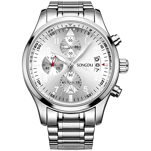 SONGDU-Herren-Armbanduhr-Analog-Multifunktions-Chronograph-Quarz-Silber-Edelstahl-Herrenuhren