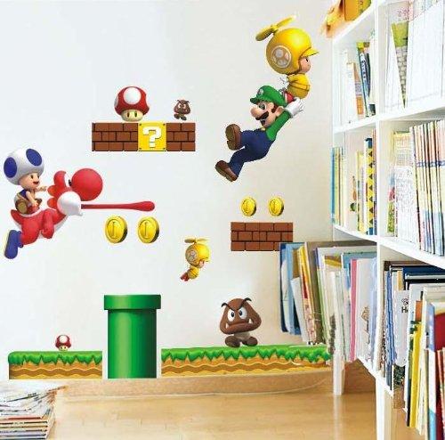 Super Mario dibujos animados adhesivos de pared, pelar y pegar pegatin
