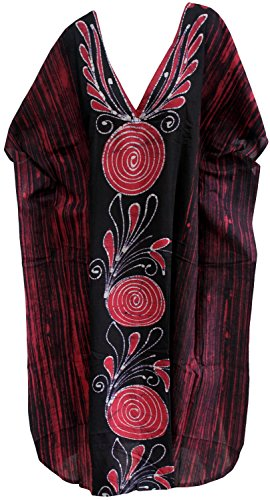 La Leela lange Kaftan lässig Kleidbadebekleidung maxi 100% Baumwolle Batik Bademode lose Frauen Rosa 3