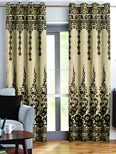 check MRP of brown and cream curtains Story@Home