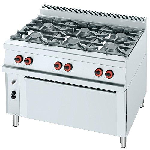 Macfrin R6L Cocina a Gas de 6 Fuegos y Horno 49 Kw