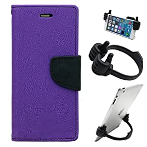 Aart Fancy Diary Card Wallet Flip Case Back Cover For Mircomax Q372 - (Purple) + Flexible Portable Mount Cradle Thumb Ok Stand Holder By Aart store