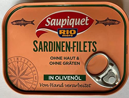 Saupiquet Rio Mare Sardinen-Filets ohne Haut & ohne Gräten in Olivenöl (1x105g)