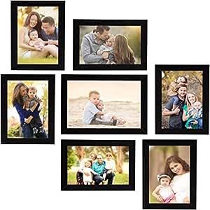 Naraniya Creation Individual Photo Frames Wall Hanging Set of 7, Black