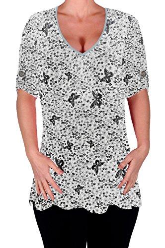 Eyecatch - Aspen Femmes Imprimé Chemisier Décontractée col en V Tunique dames Plus Size Flared chemisiers longue Blanc