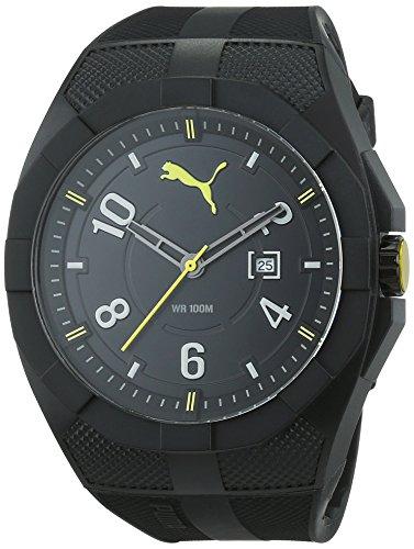 Puma Iconic - Reloj análogico de cuarzo con correa de poliuretano para hombre, color negro/negro y amari