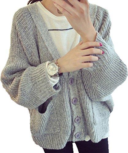 BININBOX® NEU Damen weiter Typ Strickjacke V-Ausschnitt Knopfleiste Strick Mantel Freizeit Pullover für Herbst und Frühjahr in 3Farben (Oberweite 59cm, Grau)