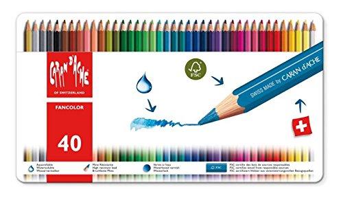 Caran d'ache fancolor 40 pastelli matite colorate con scatola in metallo