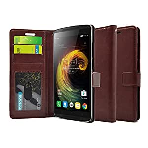 Foso A7010 High Quality PU Leather Magnetic Flip Cover Wallet Case for Lenovo Vibe K4 Note (Royal Brown)