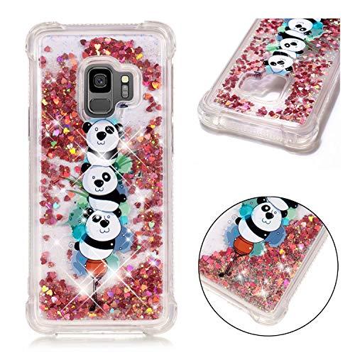 SHYHONG Kompatibel Samsung Galaxy S9 Hülle+5D gehärtetem Glas Dynamischer Treibsand Transparent TPU Silikon Handyhülle Vier Eckluftkissen Schutzhülle Anti-Shock Bumper Cover(Panda)