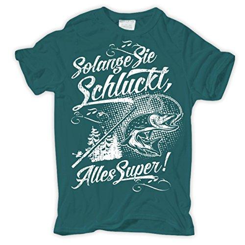 Männer und Herren T-Shirt Solange Sie schluckt (mit Rückendruck) Pazifikblau