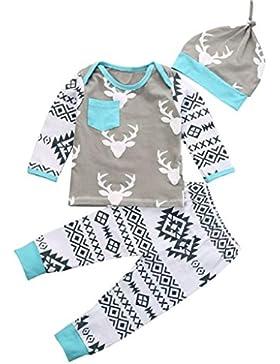 Covermason 1 Set Christmas Baby Jungen Mädchen Hirsch Romper Tops + Hosen + Hut Outfits Kleidung