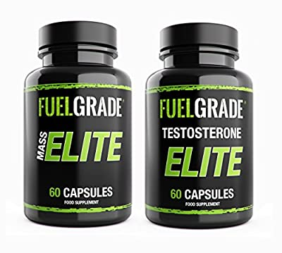 Testosterone Booster for Men 120 Capsules Max Strength Mass Elite + Testosterone Elite Duo UK Manufactured by FUELGRADE from FUELGRADE