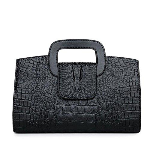 Krokodil-Muster-Handtaschen-Schlange Prägeartige Kurier-Tasche PU-Umhängetaschen Dame-Taschen-Beutel-Datierungs-Arbeit Geschäftstaschen HQ.ADIER,Black (Schlange Krokodil)