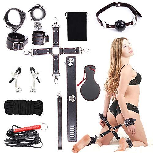 WeDol SMSet Bondageset Fesseln 11 Stück erotikSexspielzeug für Anfänger Paare(halsband Handschellen Fußfesseln Bondage) schwarz