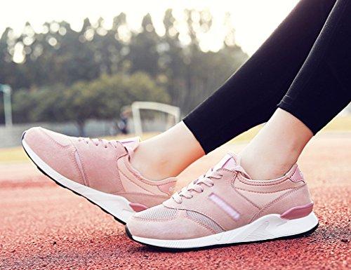 HWF Chaussures femme Chaussures de sport Femme Printemps Chaussures de Course Mesh respirant Chaussures Casual Étudiant Chaussures pour femmes ( Couleur : Gris , taille : 40 ) Rose