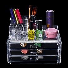 Caja de almacenamiento de maquillaje acrílico organizador de cosméticos caja expositora cajones, 3 cajones de almacenamiento de maquillaje y pintalabios, soporte para cepillos
