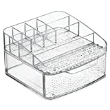 iDesign Rain Kosmetik Organizer | Schminkaufbewahrung mit vielen Fächern und einer Schublade | Kosmetikbox für Wasch- oder Schminktisch | Kunststoff durchsichtig