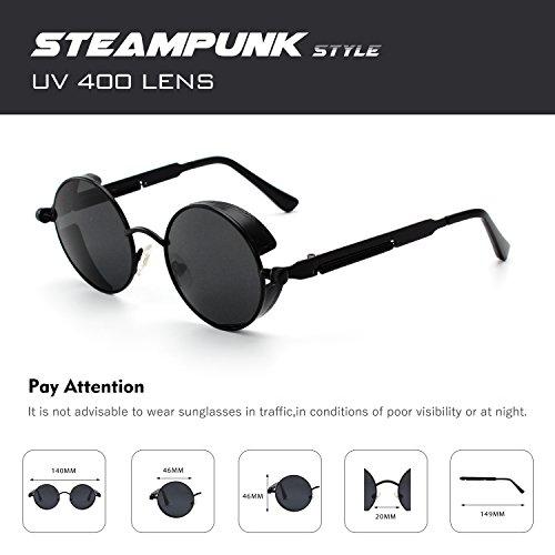 260d3b6b92 CGID E72 Retro Steampunk Style Inspired Round Metal Circle Polarized  Sunglasses for Men