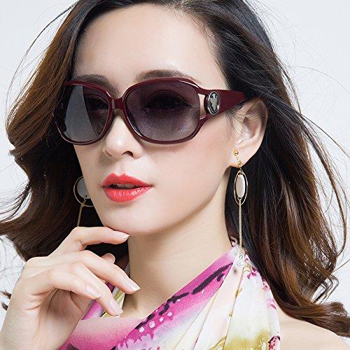 Sunyan Hochglanz Sonnenbrille Mädchen rundes Gesicht Big Box Sonnenbrille Frau Tide Persönlichkeit Kurzsichtigkeit Brille Elegante Lange Gesicht Augen, Wein rot, Lila Chip (Augen Brille Rote Frau)