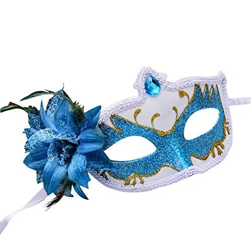 Westeng Party deko Maske Damen Masquerade Jazz Maske Frauen Augenmaske Cosplay Kostüm Maske für Halloween Weihnachten Karneval Party Maskerade 1 Stück (Blau) (Jazz Kostüm Frauen)