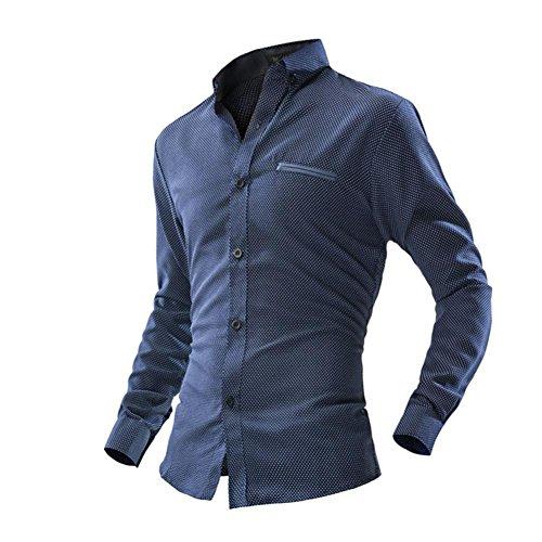 Herren Hemd T-shirt,Dasongff Herren Business Hemd Casual Langarm-Shirt Druck Punkte Langarmshirt Freizeithemd Hemden männer Shirt Tops (XL, Dunkelblau)