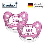 Dentistar® Schnuller 2er Set- Nuckel Silikon in Größe 2, 6-14 Monate - zahnfreundlich & kiefergerecht - Beruhigungssauger für Babys - Lisa
