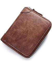 8e72d6375cf9f Yzibei dauerhaft Leder Short Vintage Geldbörse Multifunktionale  Herrenbrieftasche Herren…
