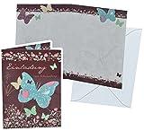 Unbekannt Einladungskarte zum Schulanfang - Schmetterling mit Umschlag - Karte Karten für Mädchen Schuleinführung Schulstart Schmetterlinge Blumen lila Einladung