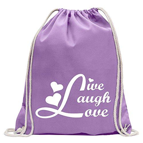 74aceee1690f9 KIWISTAR - live laugh love Turnbeutel Fun Rucksack Sport Beutel Gymsack  Baumwolle mit Ziehgurt Lavendel