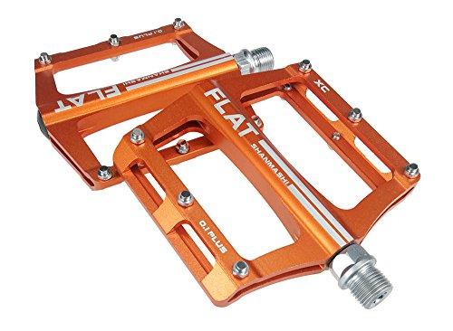 UPANBIKE Mountainbike-Kugellager-Pedale 9/16 Zoll Spindel Aluminiumlegierung Flache Plattform für BMX MTB Rennrad(Orange)