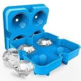 sunshineBoby 1PC Diamant Form 3D Eiswürfelform Maker Bar Party Silikon Schalen Schokoladenform, Eiswürfelform Eiswürfelbehälter Würfel Eiswürfel Form Silikon,Eiswürfelform, Silikon Eiswuerfel Form Eiswuerfelbehaelter Mit Deckel Ice Tray Ice Cube, Kühl Aufbewahren (Blau, 12.5X12.5X4cm)