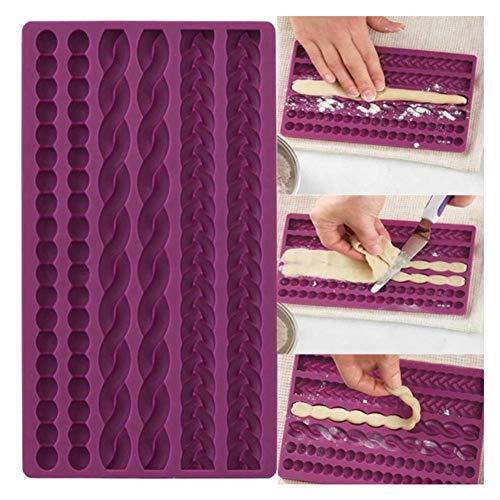 Brot Kuchenform, 3D Strickseil Silikon Perle Fondantform Kuchen Grenze Zucker Zuckergummi Paste Dekor, 8.66''X5.04''X0.39, 3 Stück -