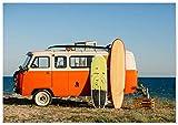 Panorama Tableau Surf Van 70 x 50 cm | Imprimée sur Toile de Grande qualité |...