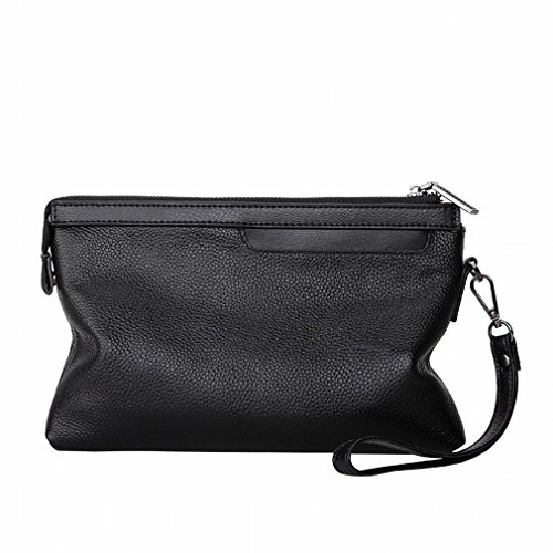 (ZB Herren-Großhandels-Handpaket Soft-Clip-Tasche Multi-Card Freizeit Business Reißverschluss Tasche,Schwarz)
