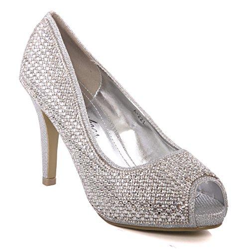 Unze Womens 'Diva' Diamante geschm眉ckt Braut Court Schuhe UK Gr枚脽e 3-8 - A-221 Silber
