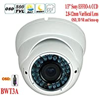BW? BWT3A 960H CCTV Camera SONY EFFIO-A 800TVL Day and Night 2.8-12mm Vari-Focal White Anti-thunder&Antifogging Dome Camera Outdoor or Indoor Use With Low Illumination, OSD, 3D NR and Sense-up function